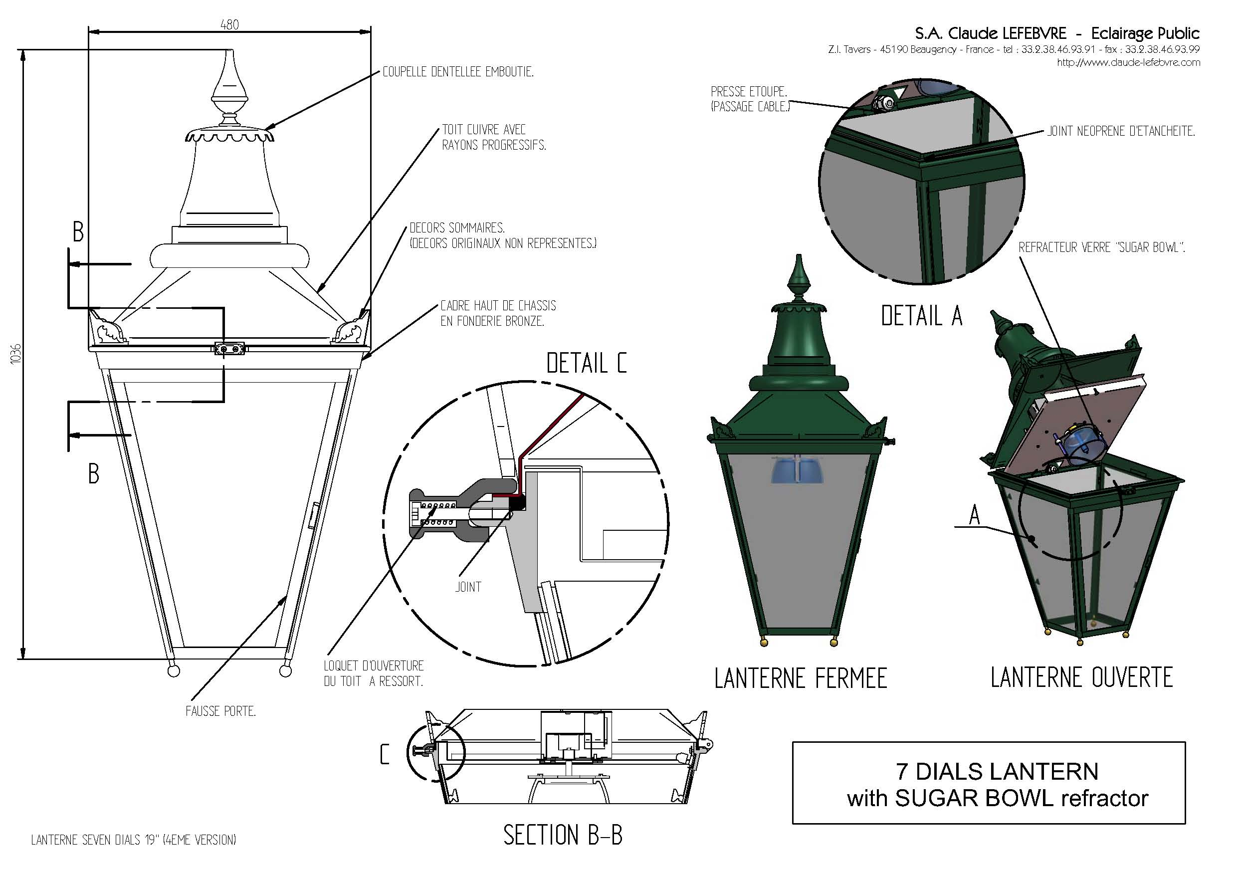 Version Three lantern with sugar bowl refractor, 2008.