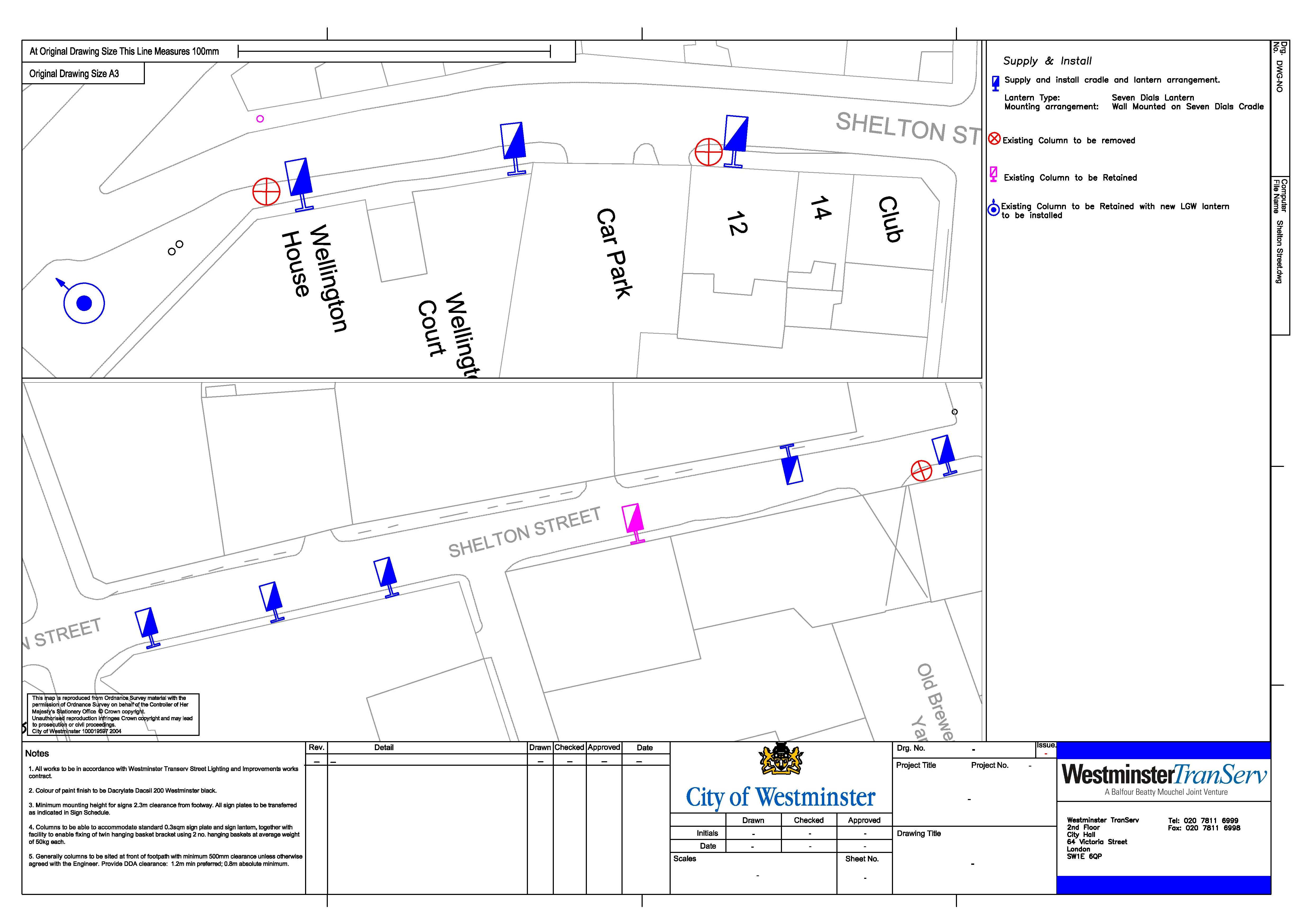 Mapping lantern positions in Westminster streets.