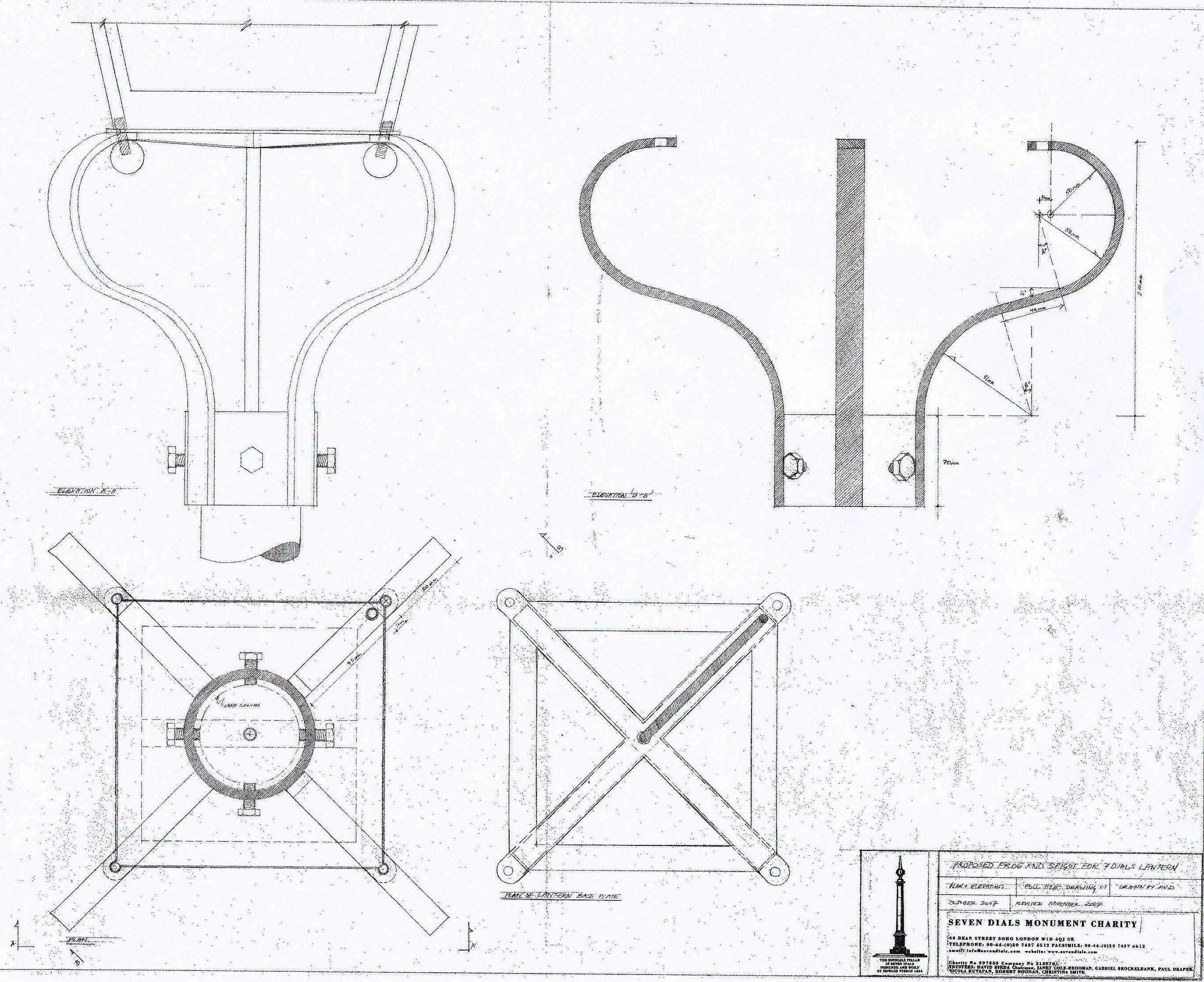 Paul Draper's drawing of the 'frog' for the column version lantern.