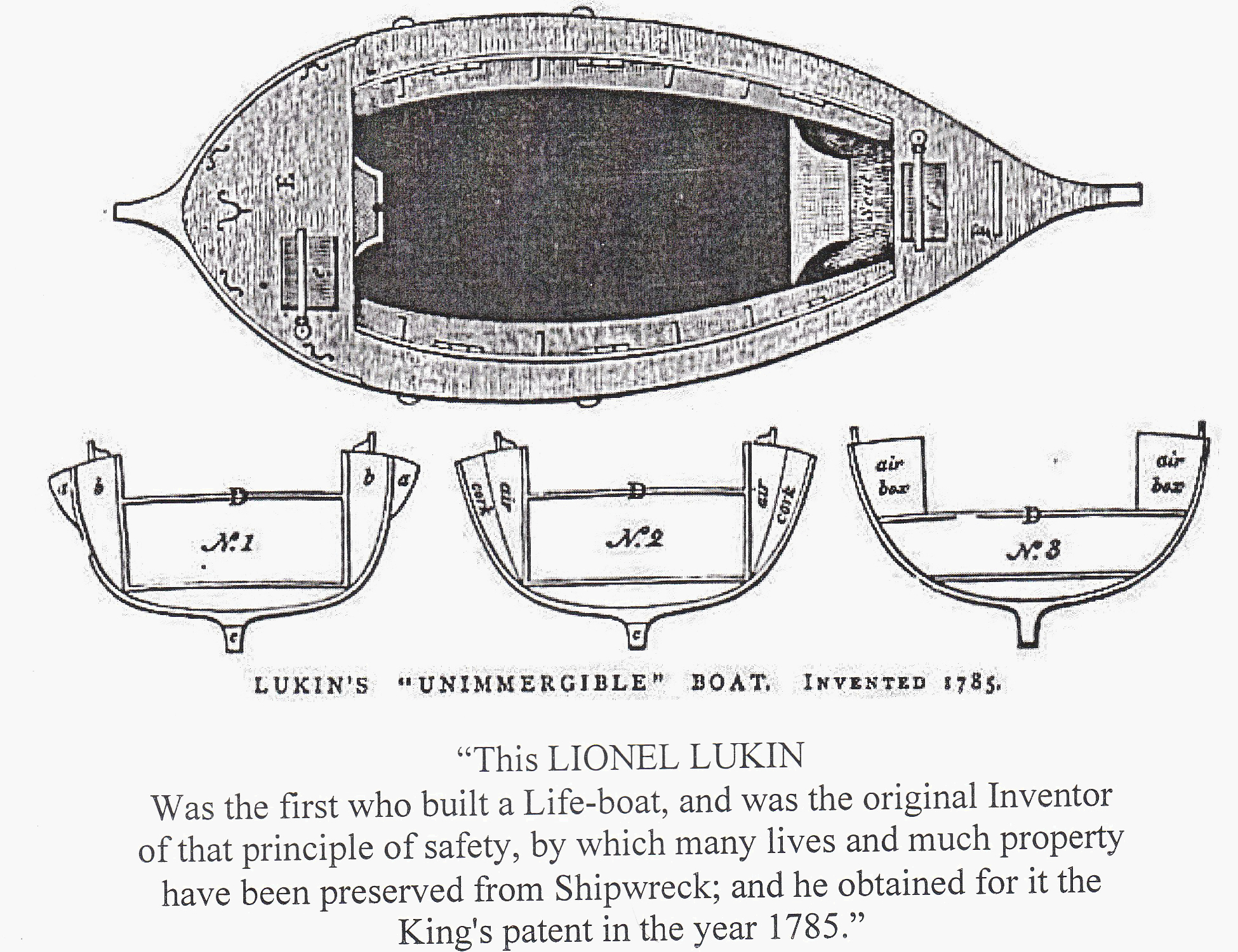 People's Plaque candidate Lionel Lukin (1742-834), inventor of the 'unimmergible' lifeboat, who lived on Long Acre.