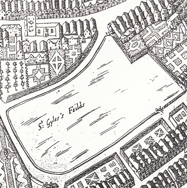 1658 Faithorne and Newcourt map. Shows the site of the Seven Dials development as fields on the edge of farmland. Courtesy of Camden Local History Library