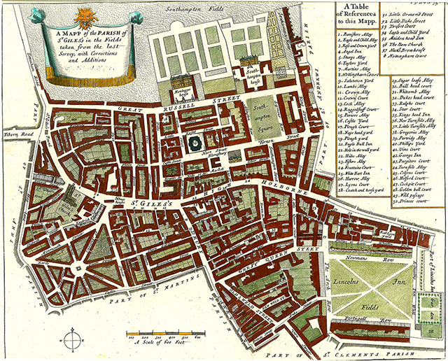 1723 (John Strype): St. Giles� Parish map