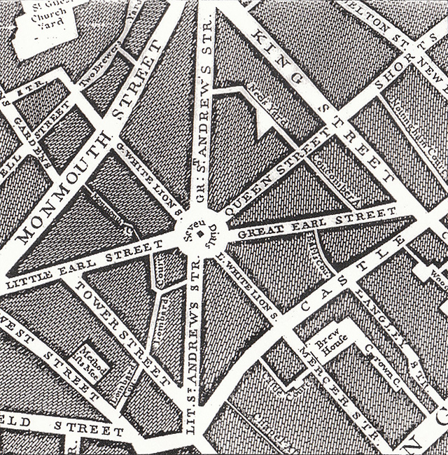 1745 James Rocque map, showing some early street names and confirmation of the orientation of the Sundial Pillar.