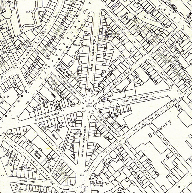 1894 (OS): Shaftesbury Avenue has been created, clearing Seven Dials slums