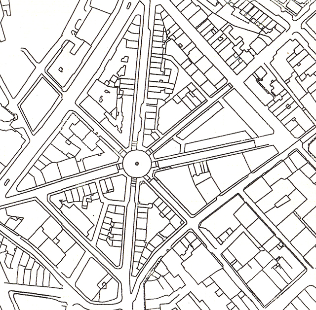 2000: Seven Dials, showing much of the original street plan.