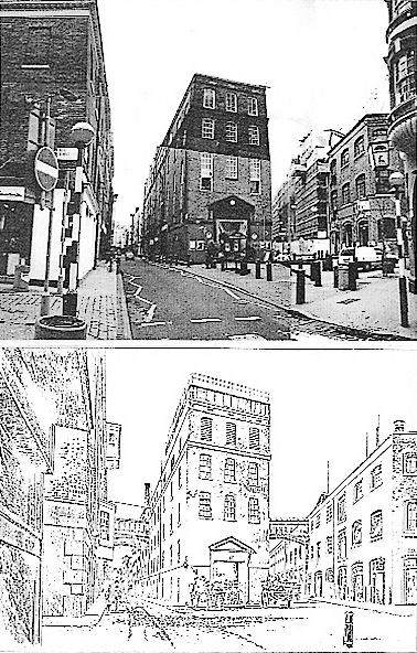 The junction of Earlham Street and Shelton Street at Neal Street in 1988 and 1888, showing the Woodyard Brewery buildings very little changed.