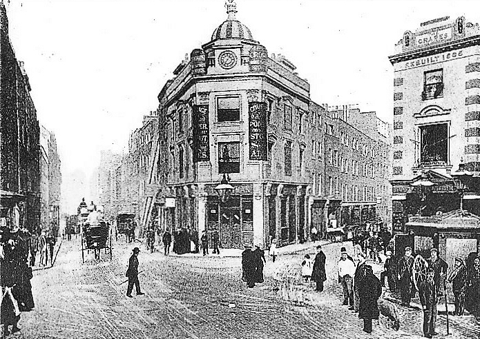 Circa 1880 Looking north up Monmouth Street. The Crown public house has hardly changed except for the removal of its dome topped by a large crown.