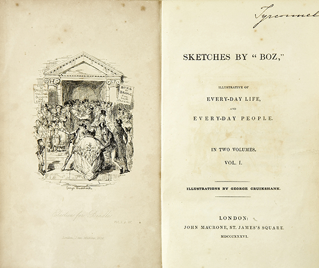Frontispiece of 'Sketches by Boz' first edition, Feb  1836. Illustration by George Cruikshank