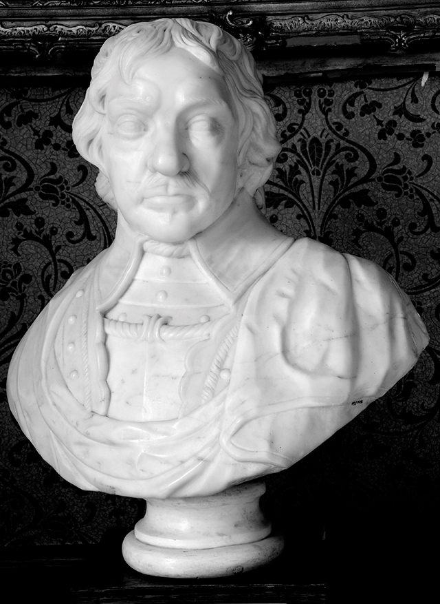 Portrait bust of Oliver Cromwell, courtesy of the Ashmoleum Museum Oxford
