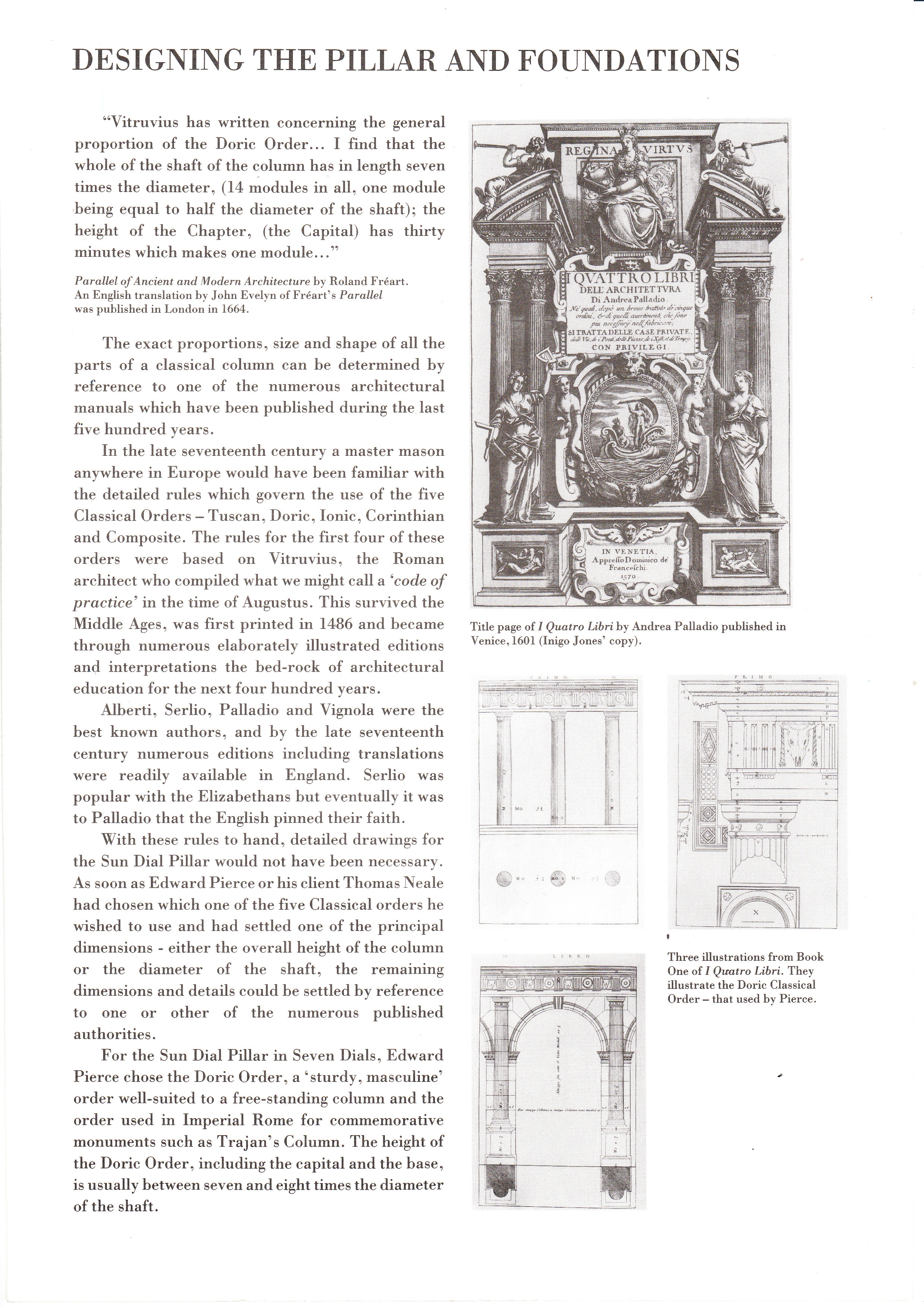 �Designing the Pillar and Foundations� from �Seven Dials� written by architect AD �Red� Mason