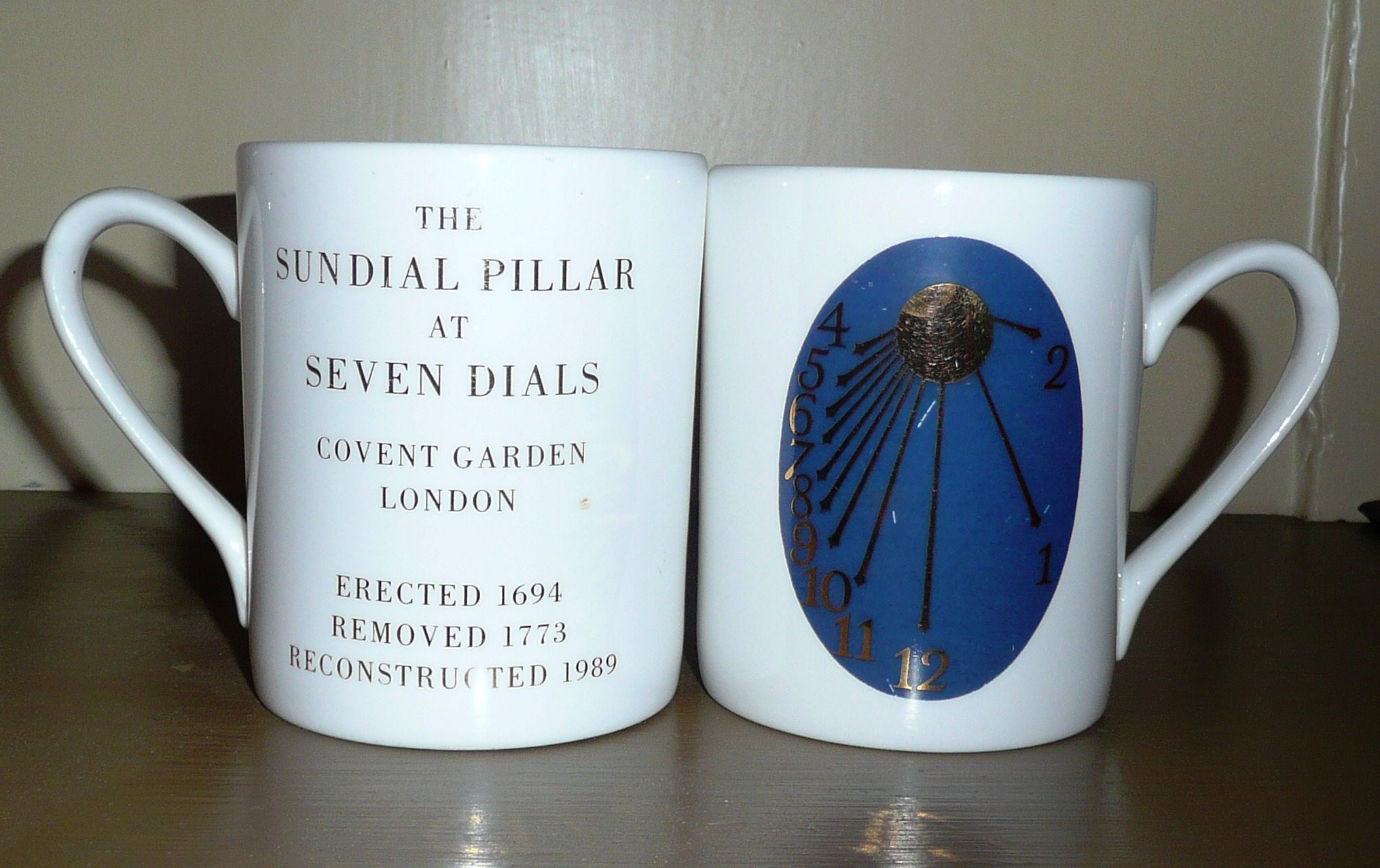 Bone china mugs with dial face.