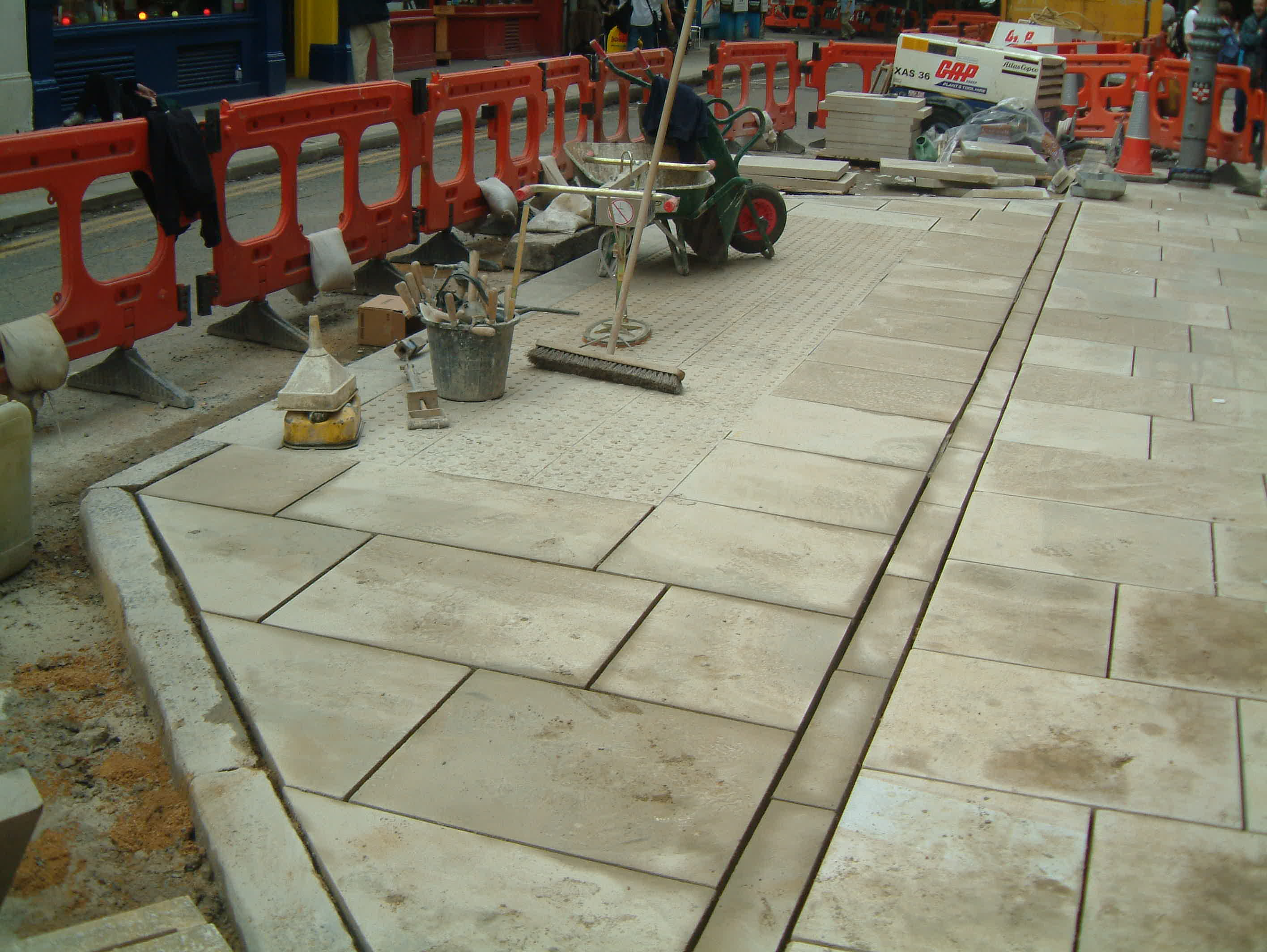New York Stone paving on widened footway.