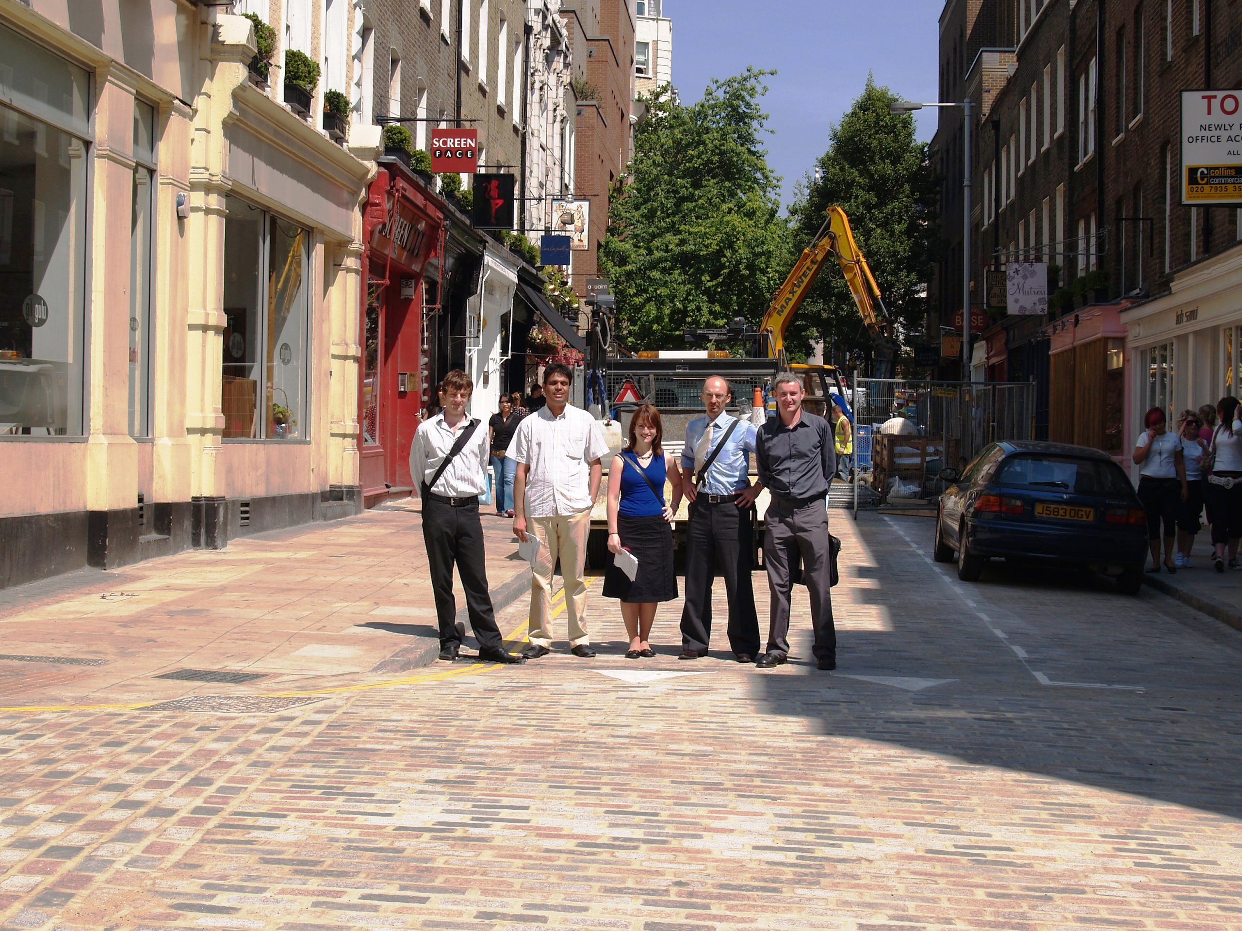 Camden's Team: David Jenkins, engineer; Wajid Majid, engineer; Liz Halstead, principal transport planner; Tim Long, transport planner; and David Reidy, Trust's link officer.