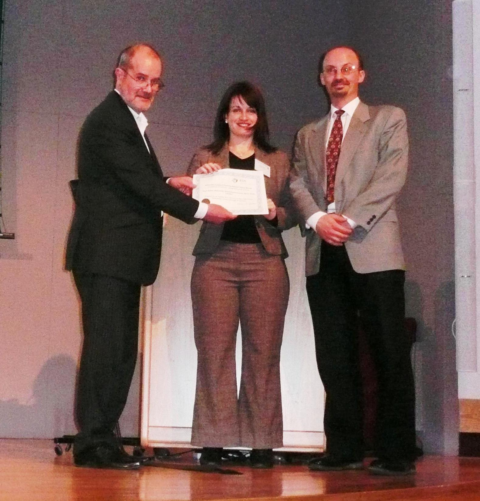 2008 RTPI Award for Monmouth Street Improvements, collected by Camden's Liz Halstead and Tim Long.