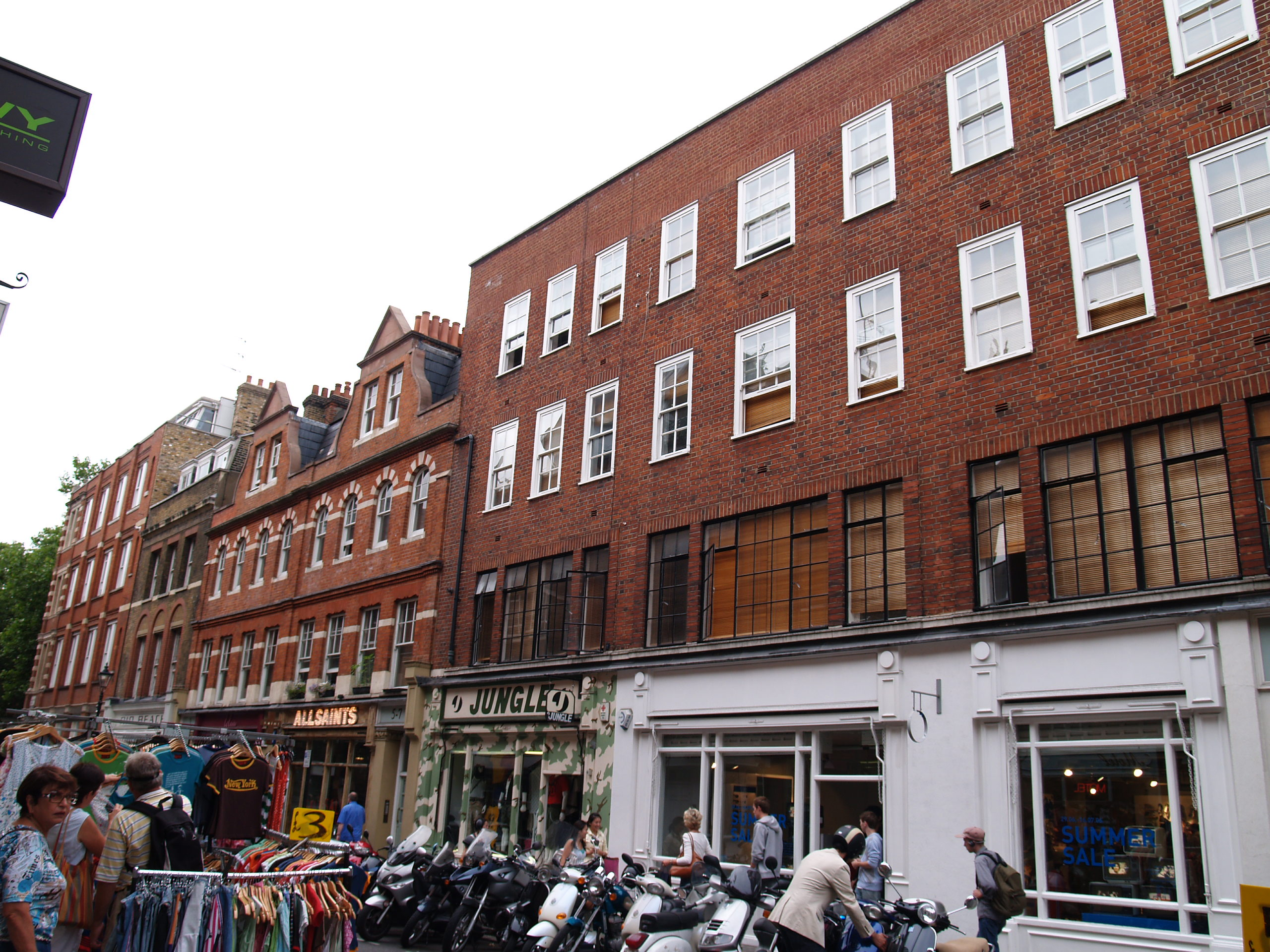 Earlham Street west facades after restoration by Shaftesbury PLC.