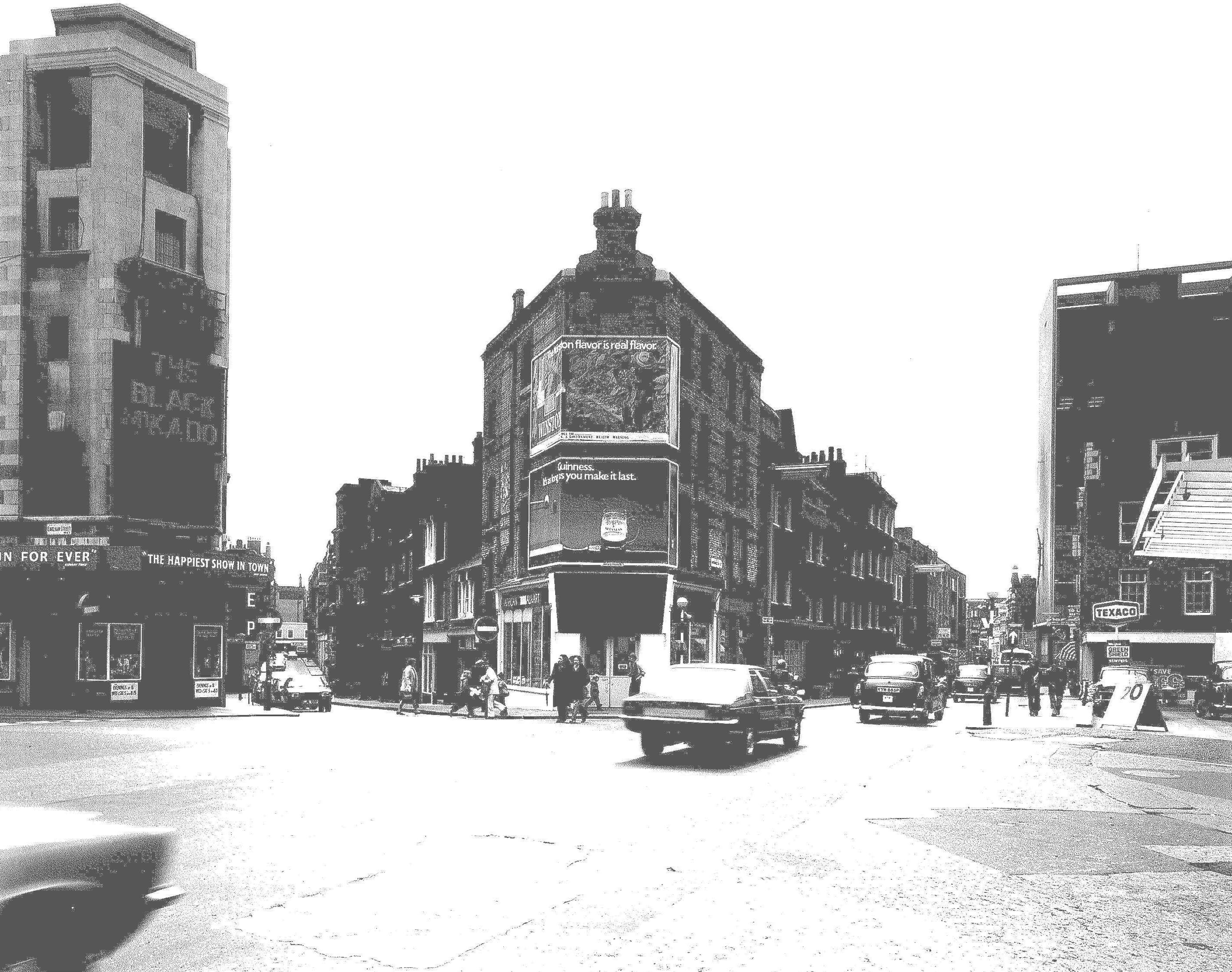 Seven Dials 1970, no trees or entablature planting (and no Sundial Pillar).