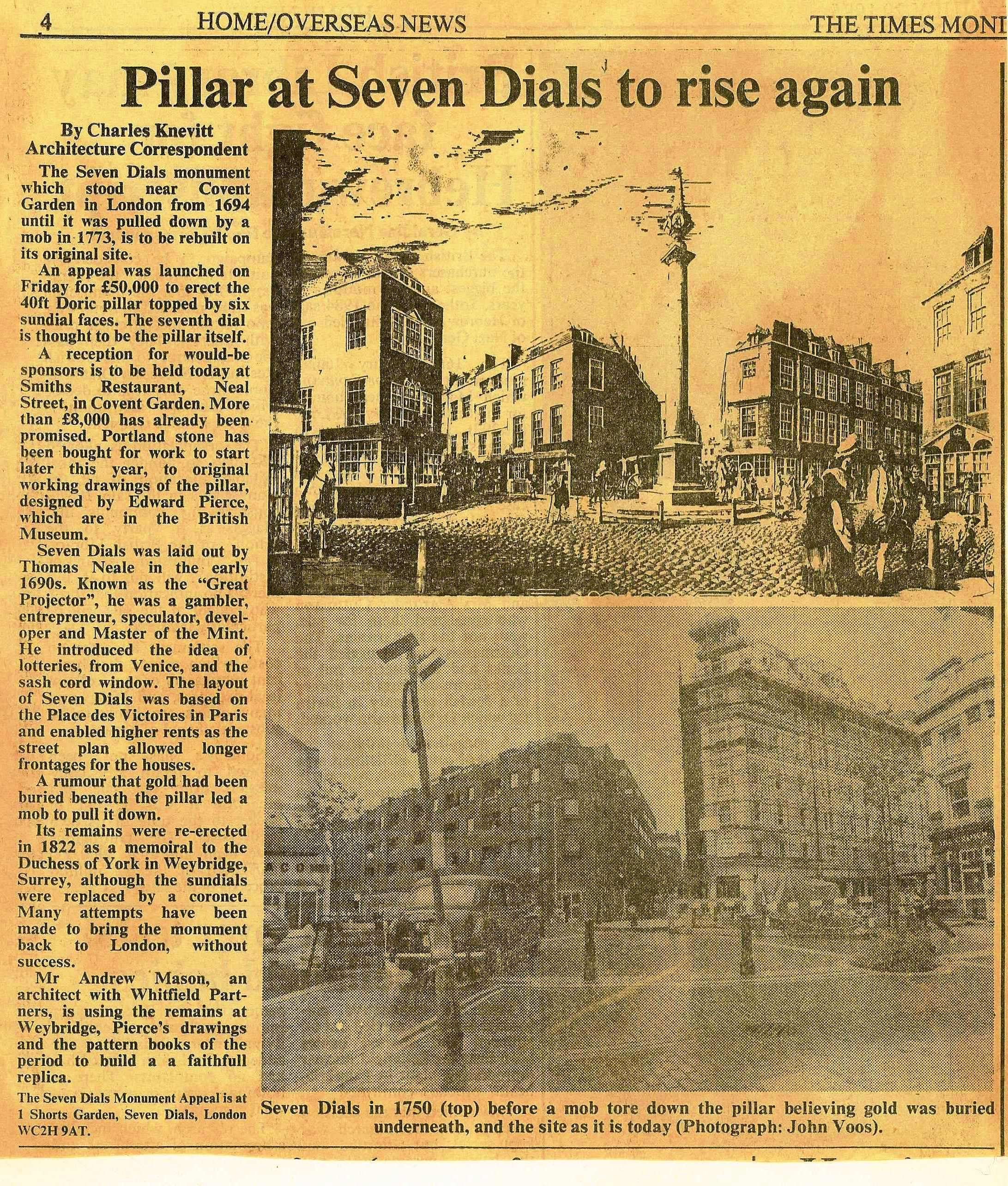 29 July 1985 – Times: Pillar at Seven Dials to Rise Again.
