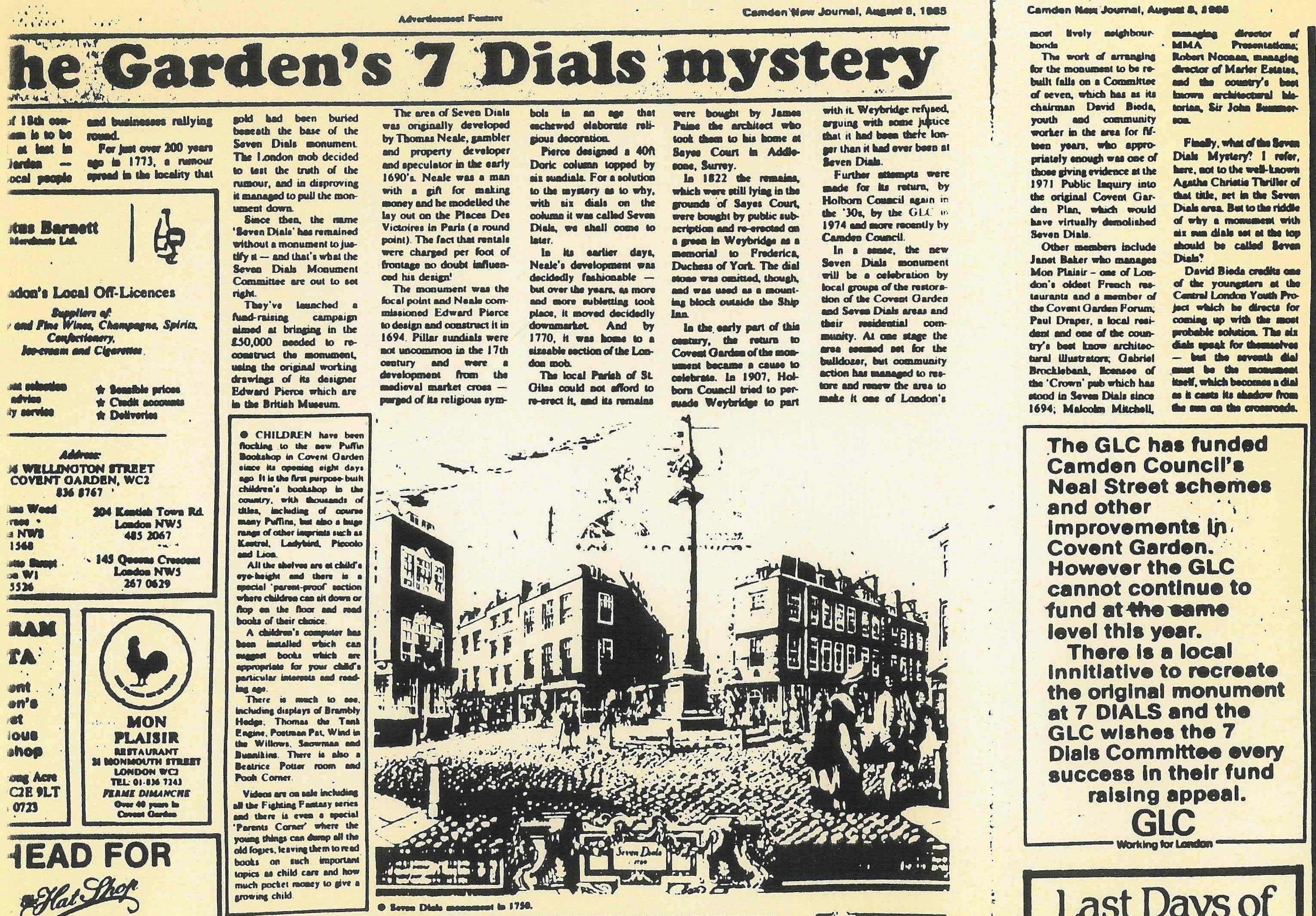 08 Aug. 1985 � Camden New Journal: The Garden's 7 Dials mystery.