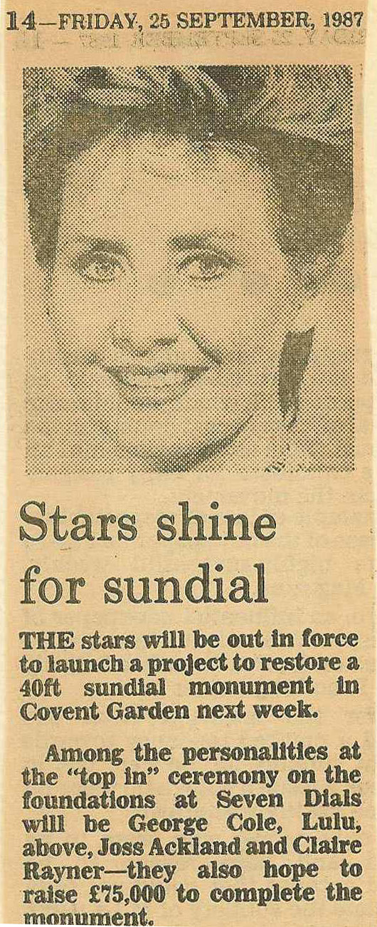 25 Sept. 1987 – Evening Standard : Stars shine for Sundial.
