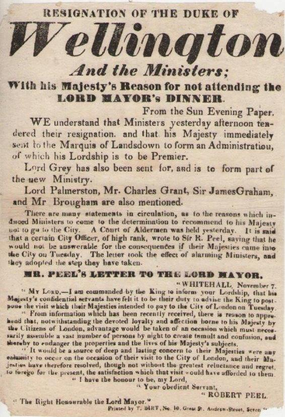 Printed by BIRT of 10 Great St Andrew Street, Seven Dials, referring to the failure of Wellington's administration in November 1830.