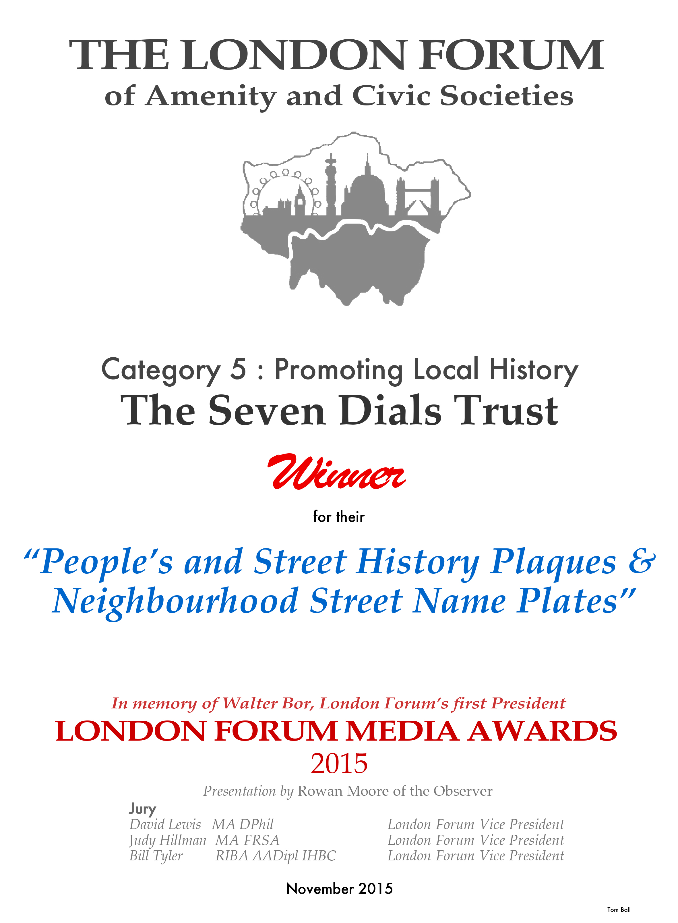 London Forum Award for Promoting Local History