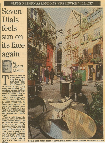 1992–Seven Dials feels sun on its face again