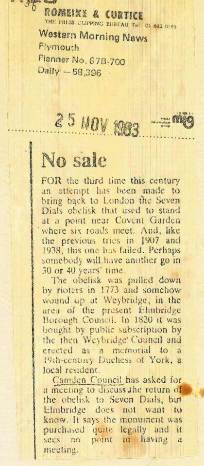 1983–No Sale re Weybridge