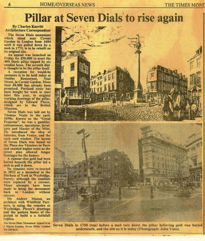 1985–Pillar at Seven Dials to Rise Again