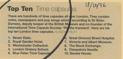 1996_10_08_Evening_Standard_Magazine_Top_10_Time_Capsules