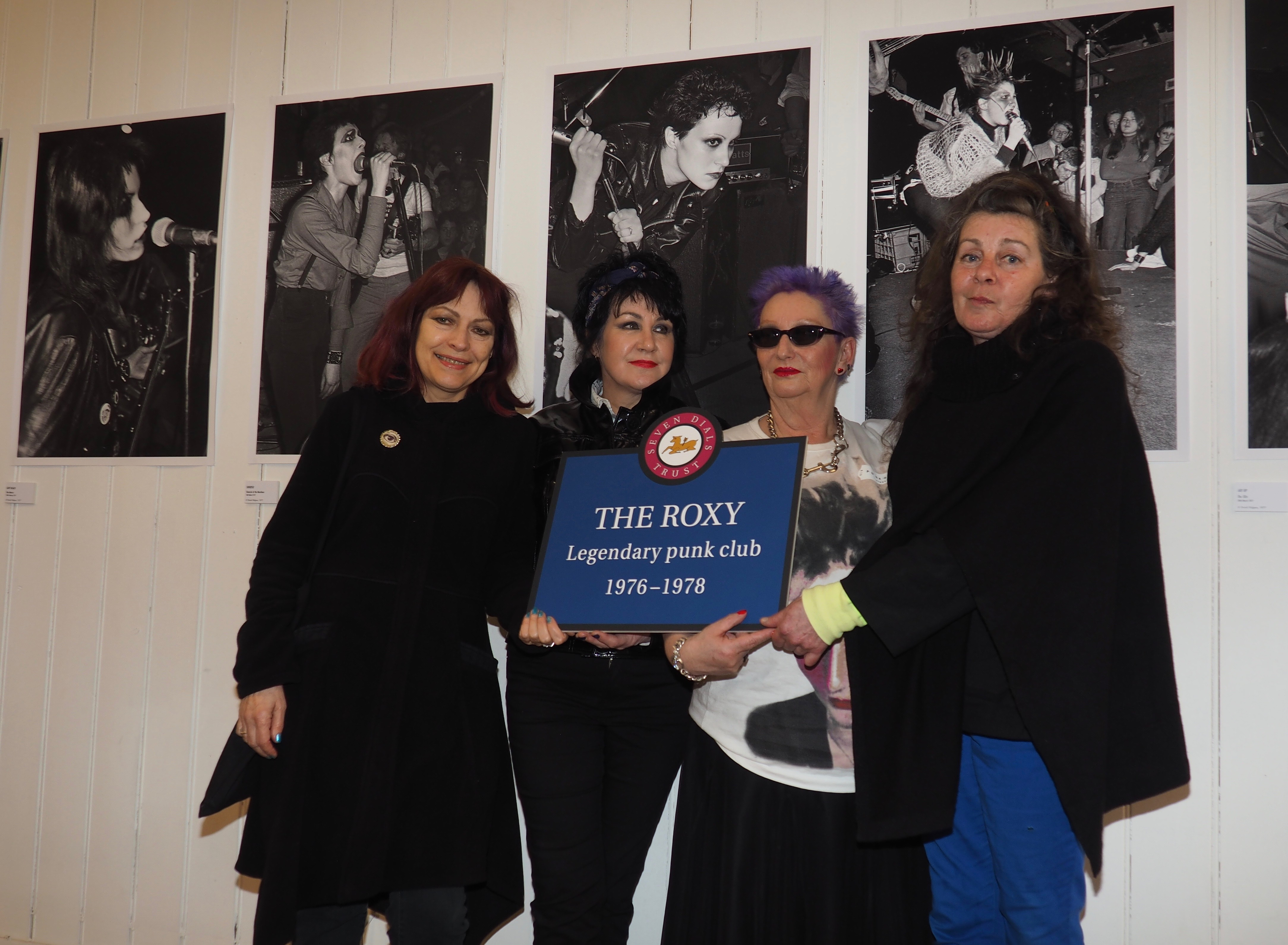 Punk icons holding the plaque to legendary Roxy club at the unveiling ceremony and exhibition on Tuesday 25th April 2017 @SevenDialsTrust in Covent Garden