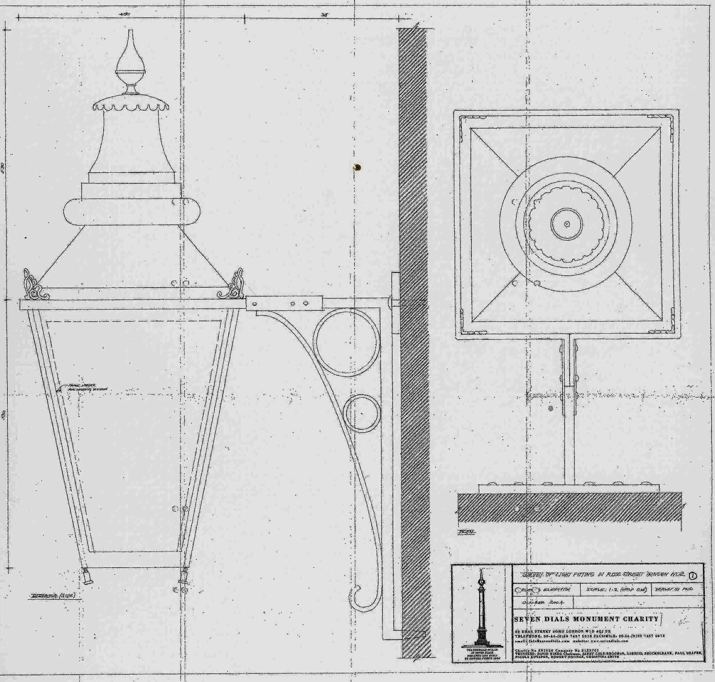 Paul Draper's survey drawing of the 19th century lantern on the Lamb and Flag, Rose Street.