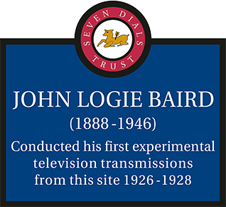 The plaque to television pioneer John Logie Baird sponsored by Trustee Mark Rupert Read.