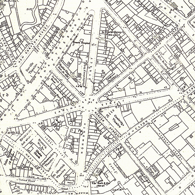 1910 (OS): showing more street name changes (Tower Court and Mercer Street) and the disappearance of the Seven Dials urinal.