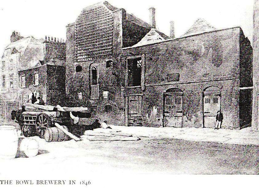 The Bowl Brewery 1846, off Short-s Gardens and Endell Street