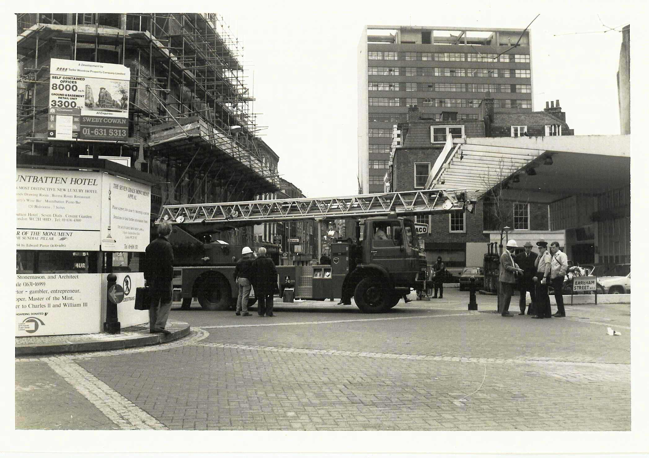 Borrowing a fire engine to measure out the foundation hoardings, 1985