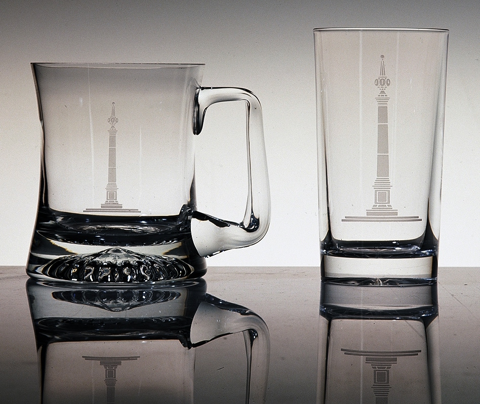 Limited edition etched Pillar glasses.