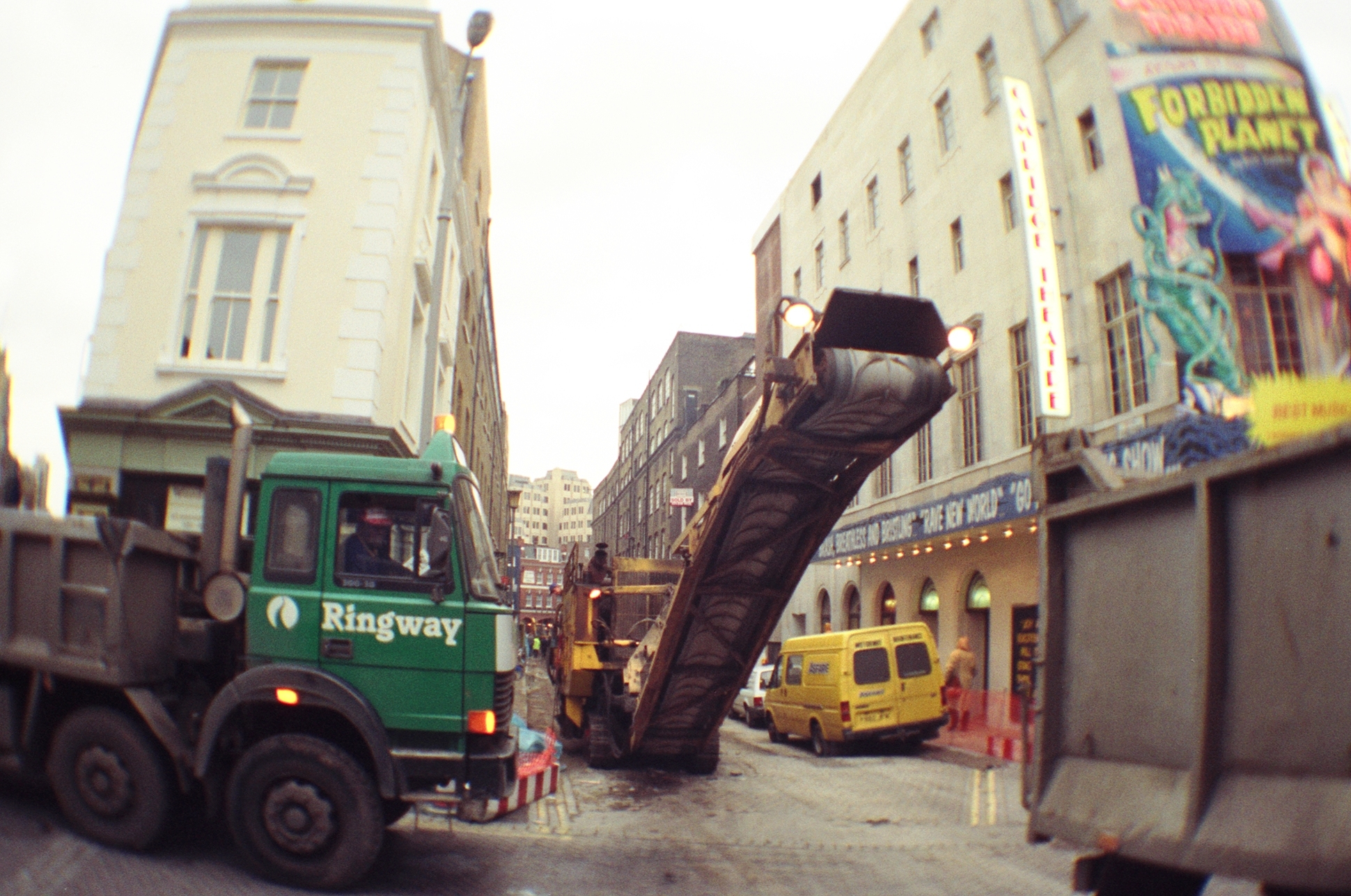 Heavy machinery in Earlham Street.