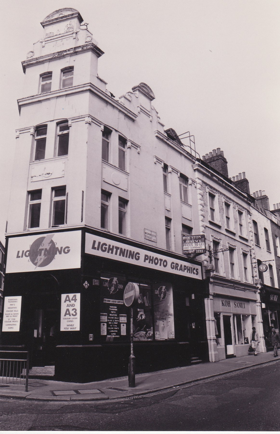 50-52 Monmouth Street and 20 Tower Street before restoration.