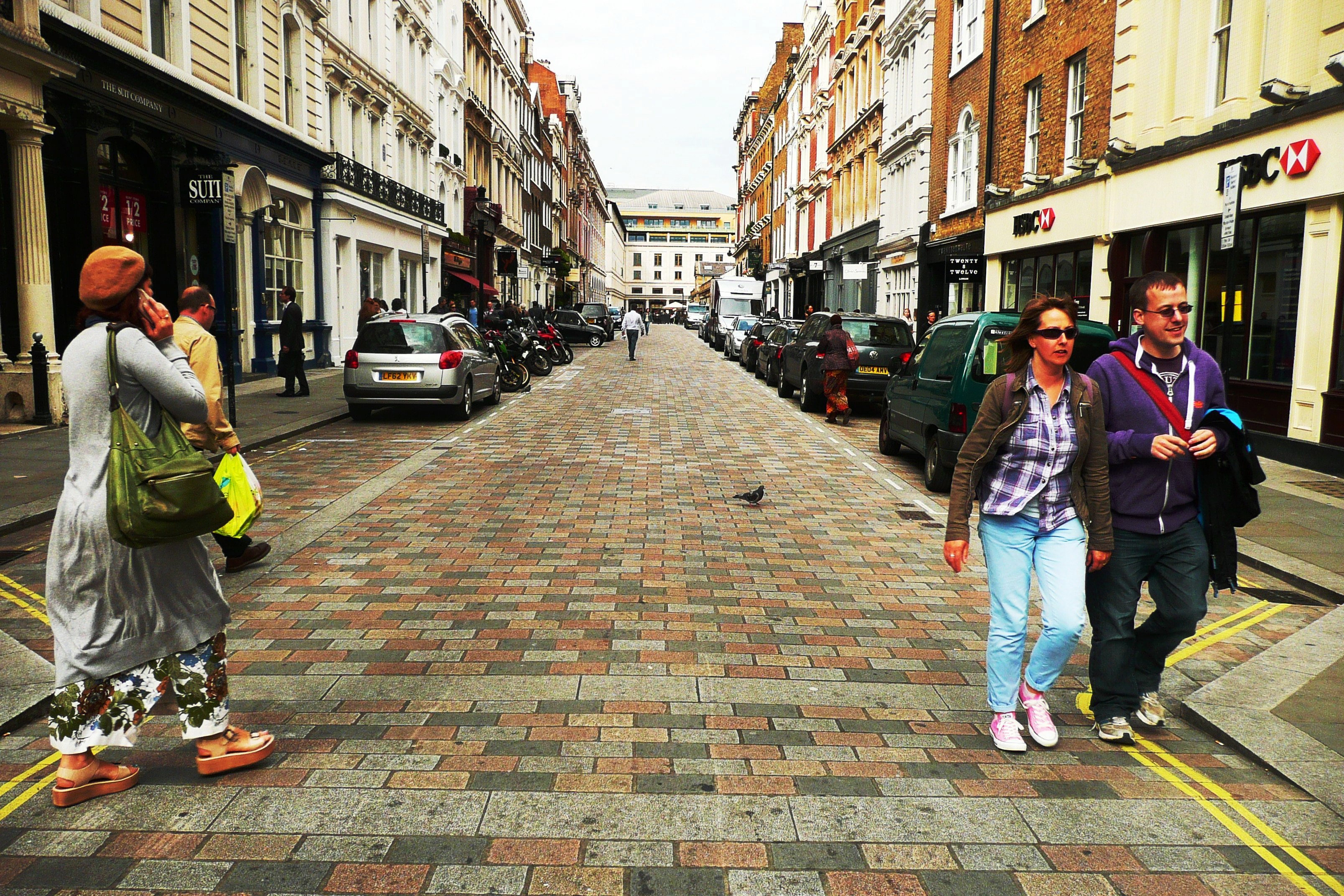King Street, Covent Garden, with multi-coloured dressed setts in place.