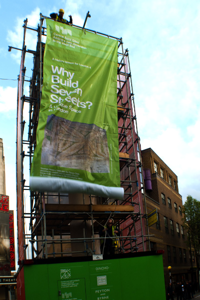 Why Build Seven Streets banner unfurling.