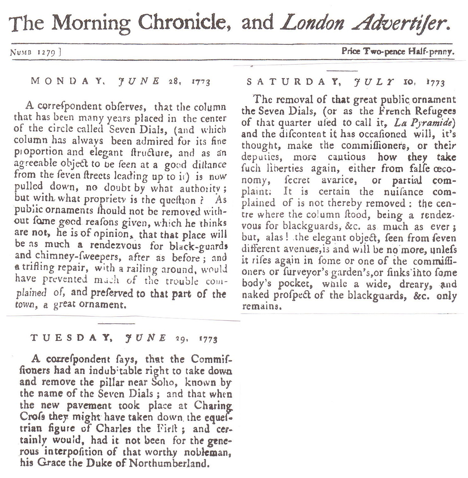 1773 – The Morning Chronicle and London Advertiser: Removal of the Sun Dial Column.