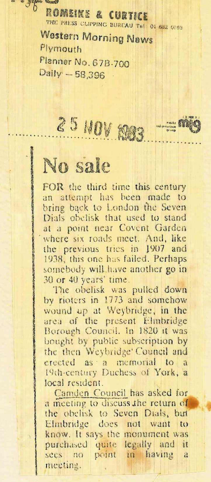 25 Nov. 1983 � Western Morning News: No Sale re Weybridge.