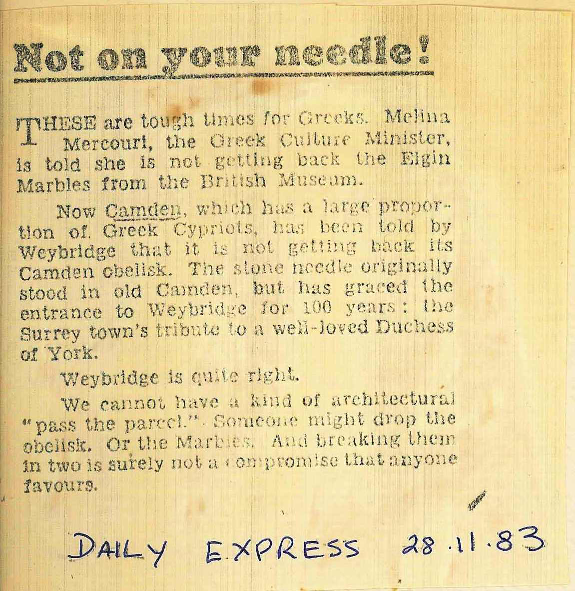 28 Nov. 1983 – Daily Express: Not on your needle!
