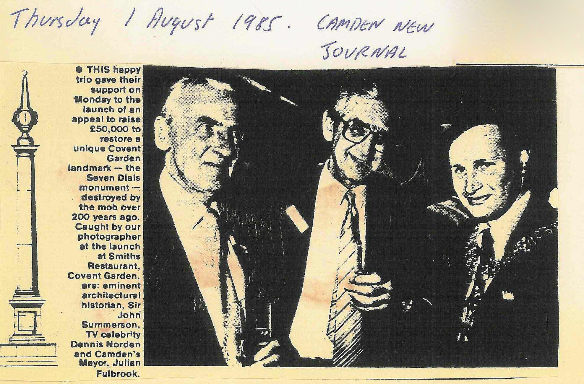 01 Aug. 1985 � Camden New Journal: This happy trio gave their support.