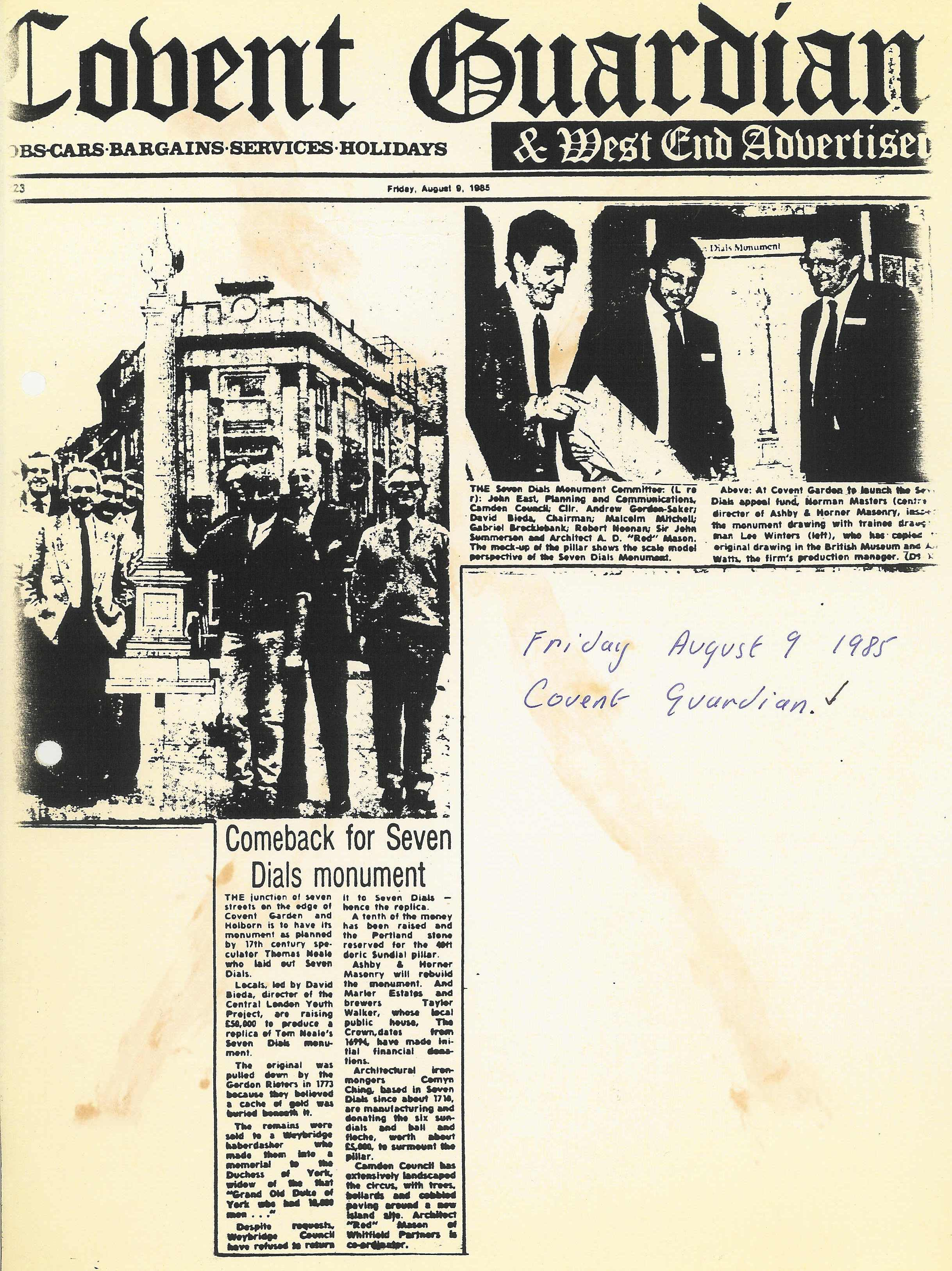 9 Aug. 1985 – Covent Guardian and West End Advertiser: Comeback for Seven Dials monument.