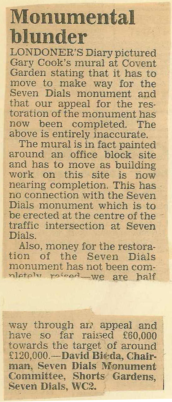 July 1987 – Evening Standard: Monumental Blunder.