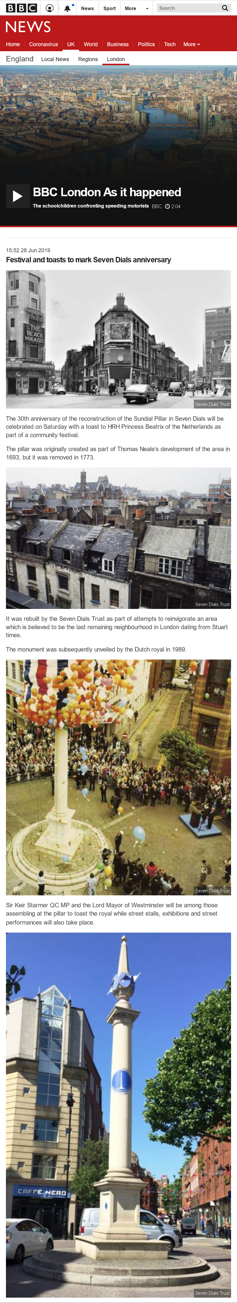 28 June 2019 – BBC London News: Festival and toasts to mark Seven Dials anniversary.