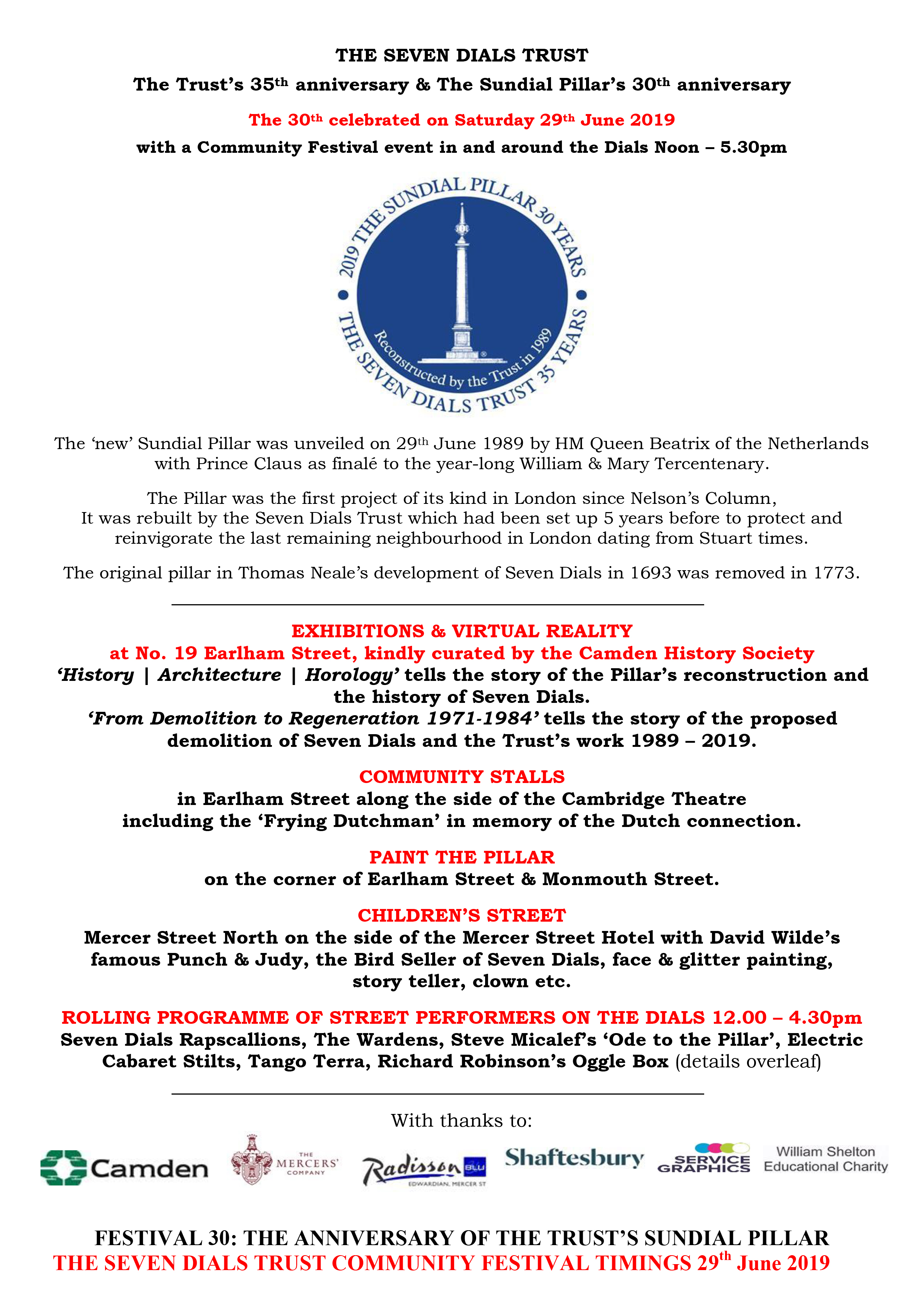 Seven Dials Monument 30th Anniversary Programme page 1