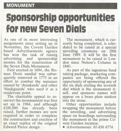 1989—Sponsorship opportunities for new Seven Dials