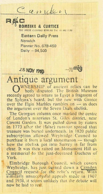 1983—Antique argument re Weybridge